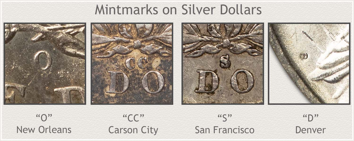 Examples of Mintmarks Used On Silver Dollars