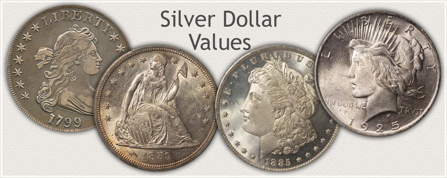 Silver Dollars Representing the Different Series: Bust, Seated Liberty, Morgan, and Peace Dollars
