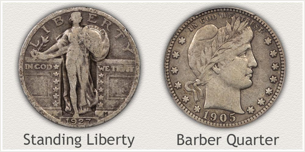 Standing Liberty and Barber Quarters