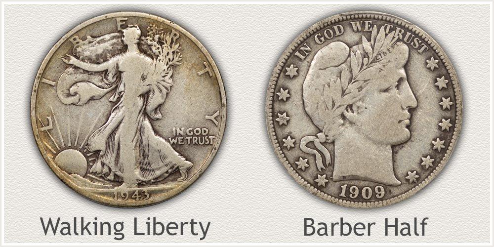 Walking Liberty and Barber Half Dollars