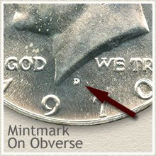 Silver Kennedy Half Dollars Mintmark on Obverse