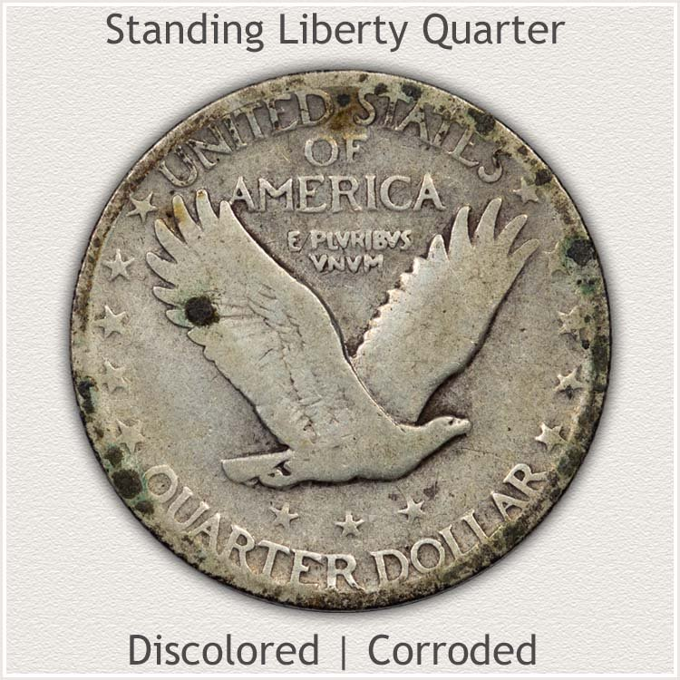 Reverse of Standing Liberty Quarter Showing Corrosion