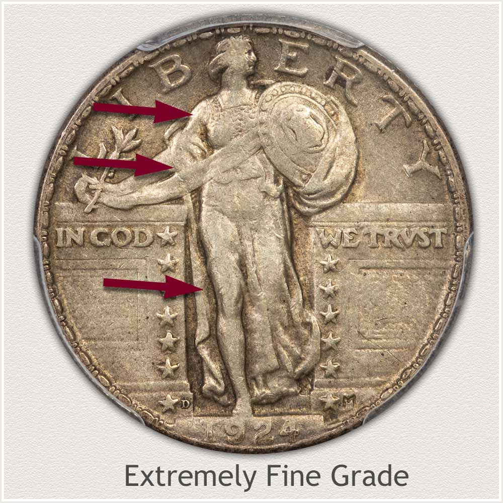 Obverse View: Extremely Fine Grade Standing Liberty Quarter