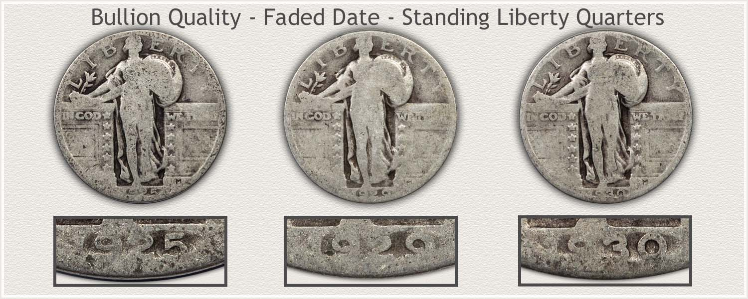 Standing Liberty Quarters Post 1924 With Faded Dates