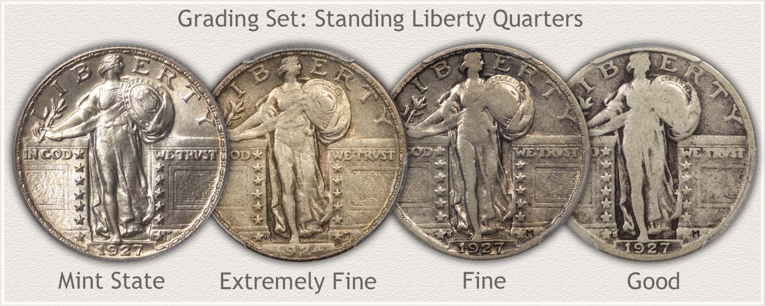Grading Set: Standing Liberty Quarters in Mint State, Extremely Fine, Fine, and Good Condition