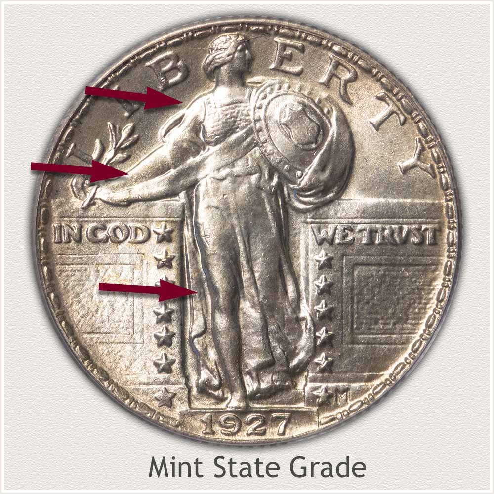 Obverse View: Mint State Grade Standing Liberty Quarter