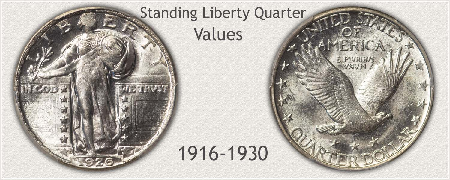 Standing Liberty Quarter Minted 1916 to 1930