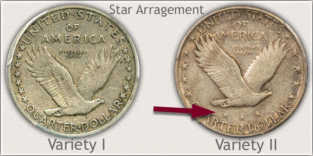 Variety I and Variety II Reverse Standing Liberty Quarters