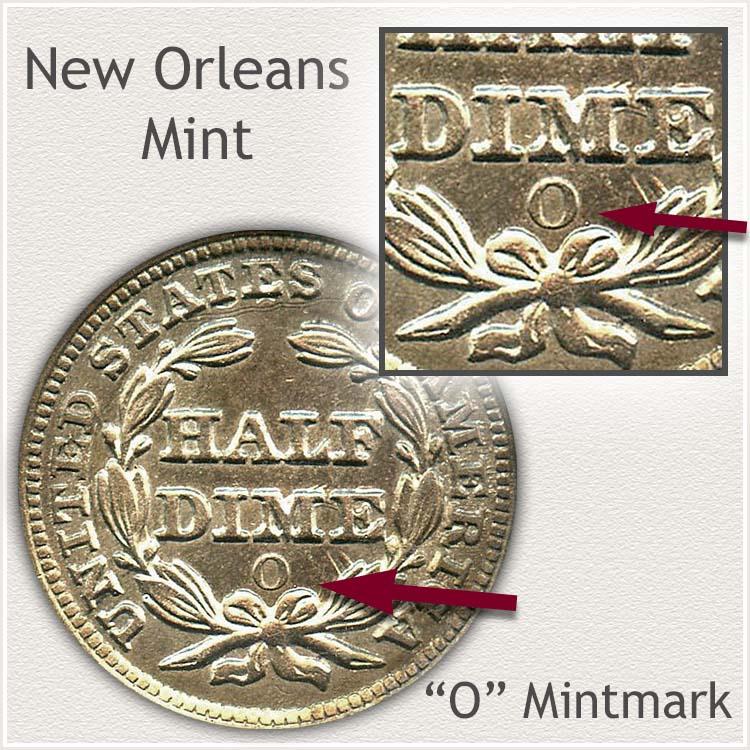 New Orleans Mint Stars Obverse Half Dime