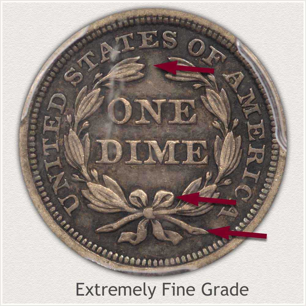 Reverse View: Extremely Fine Grade Stars Obverse-Seated Dime