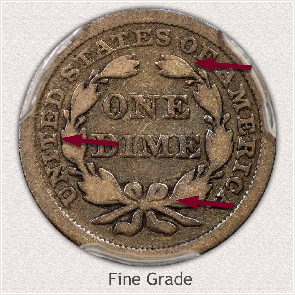 Reverse View: Fine Grade Stars Obverse-Seated Dime