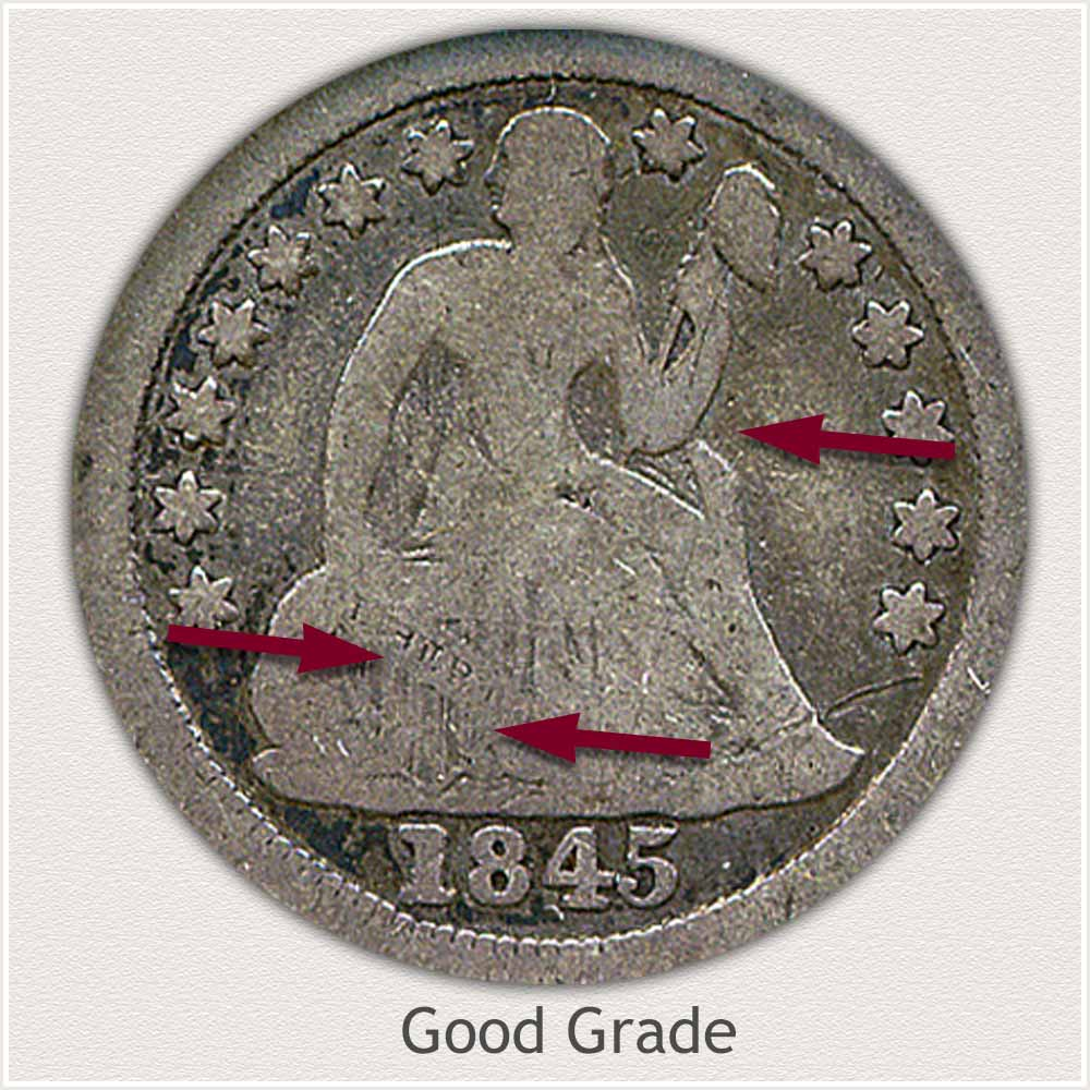 Obverse View: Good Grade Stars Obverse-Seated Dime