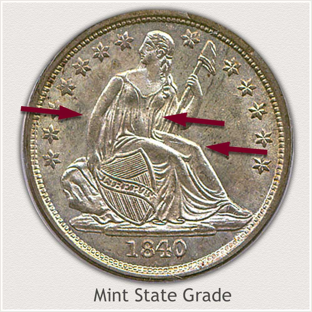 Obverse View: Mint State Grade Stars Obverse-Seated Dime