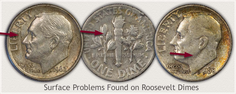 Damage on Roosevelt Dimes