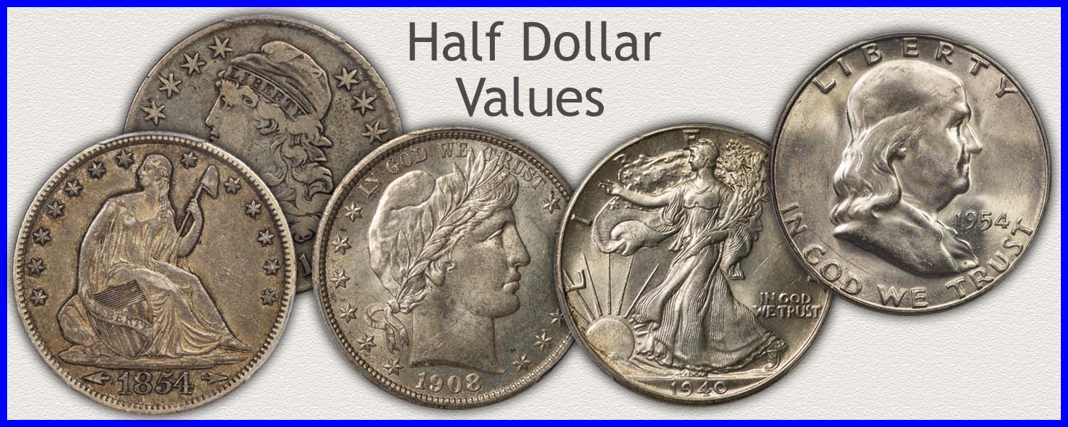 Go to...  Half Dollar Value for Bust, Seated Liberty, Barber and Walking Liberty Half Dollars