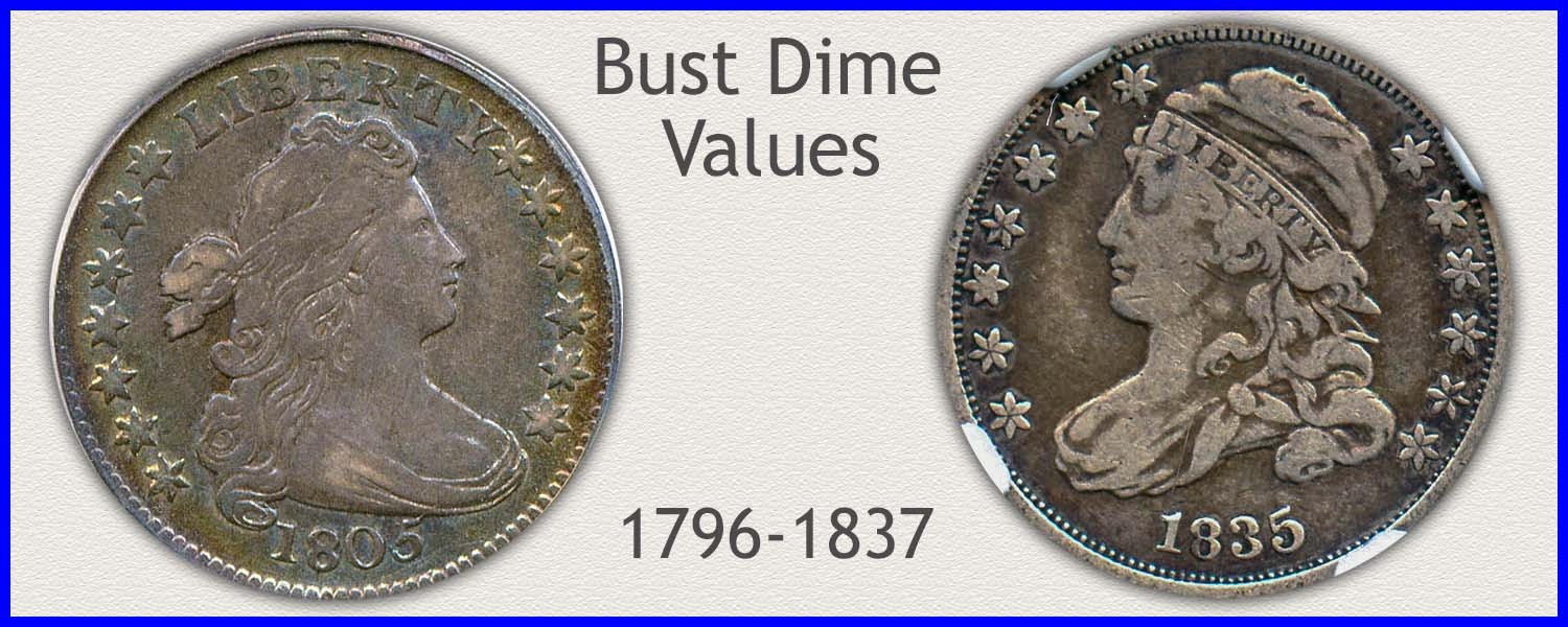 Picture of Bust Dimes Minted 1796 to 1837