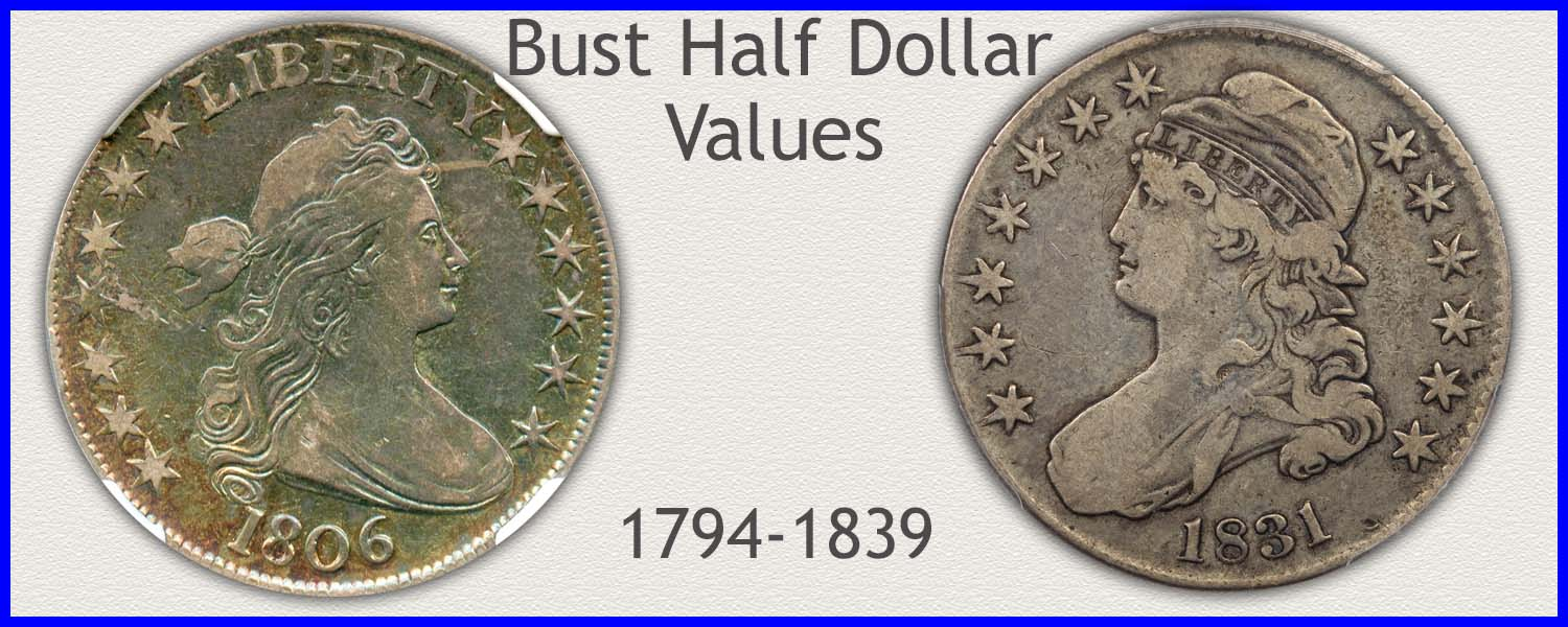 Picture of Bust Half Dollars Minted 1794 to 1839