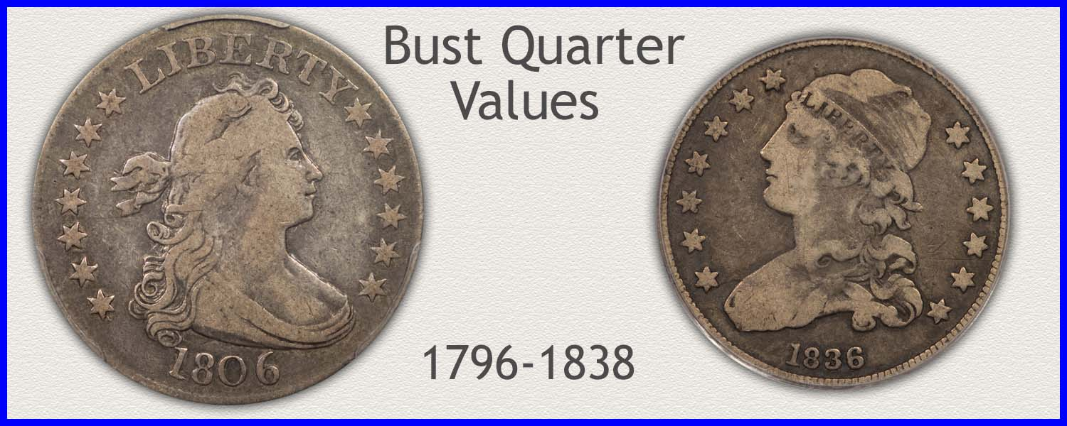Picture of Bust Quarters Minted 1796 to 1838