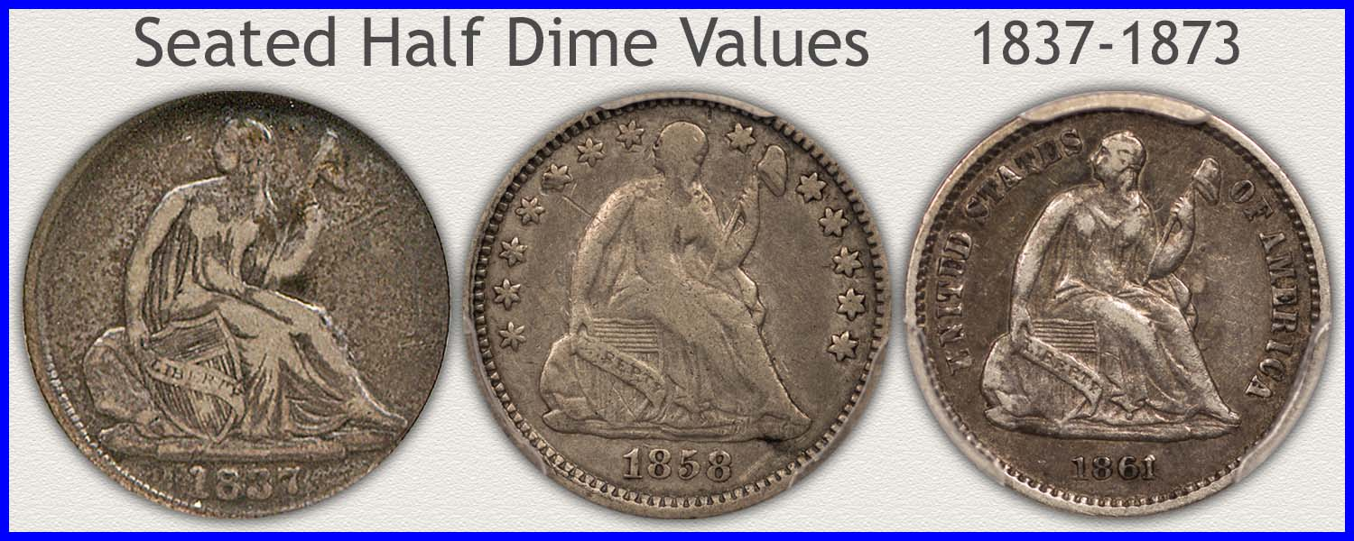 Picture of a Seated Half Dime Minted 1837 to 1873
