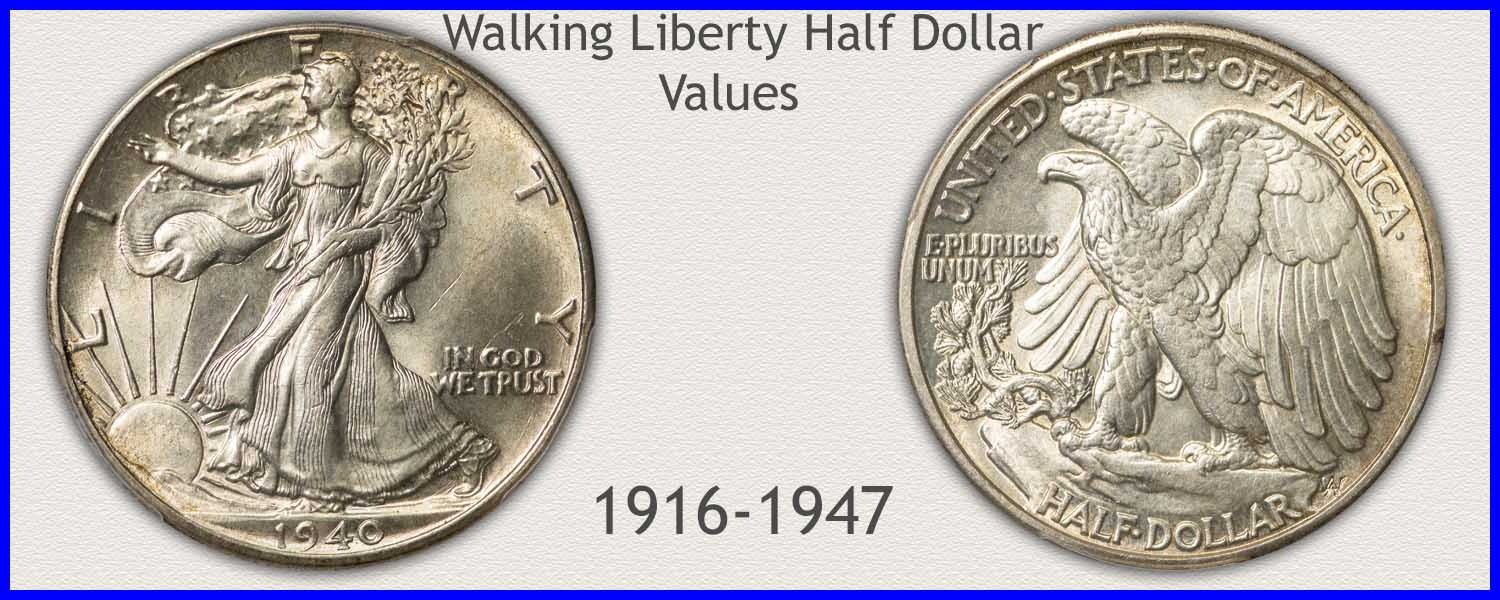 Picture of a Walking Liberty Half Dollar Minted 1916 to 1947