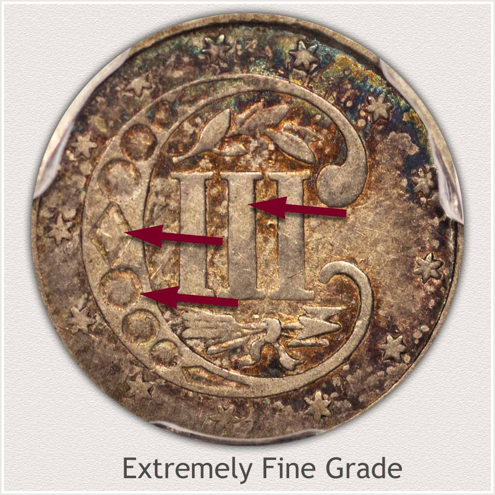 Reverse View: Extremely Fine Grade Three Cent Silver
