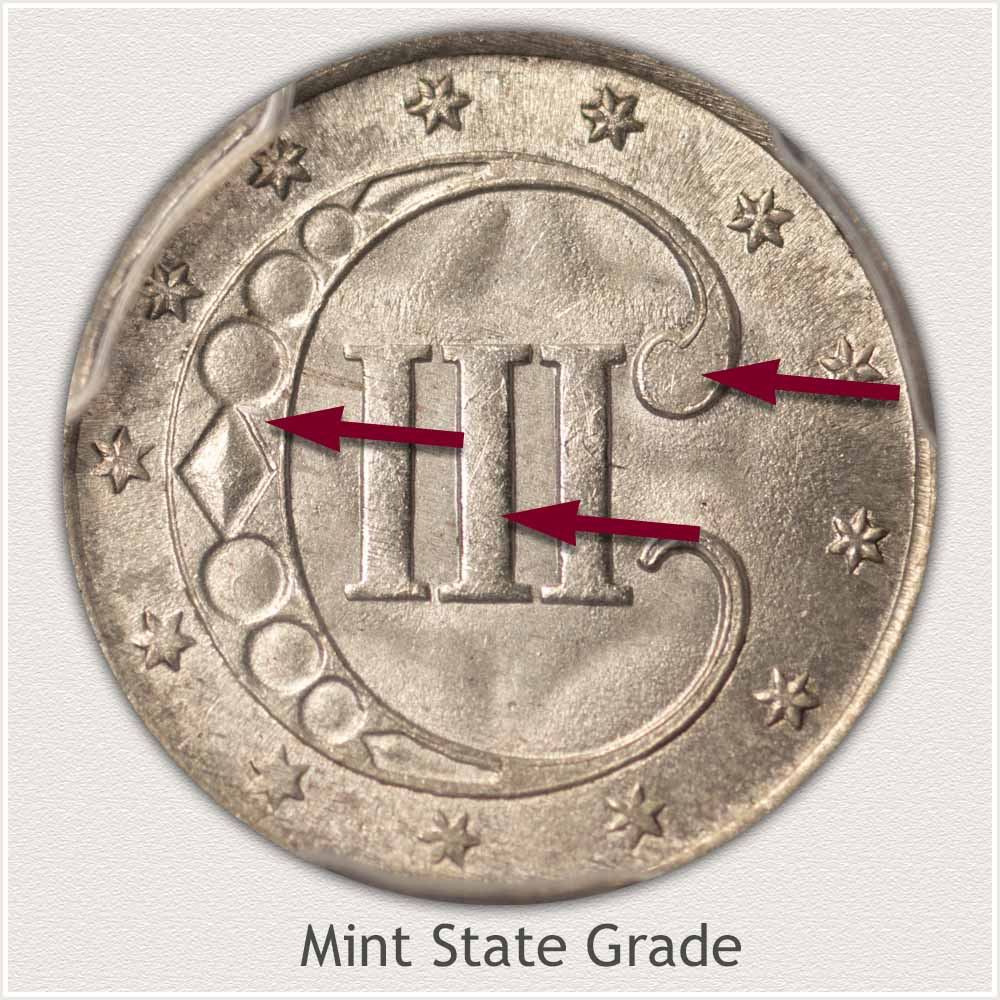 Reverse View: Mint State Grade Three Cent Silver