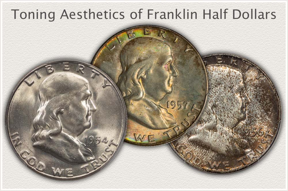 Examples of Brilliant, Toned, and Mottled Toning Franklin Half Dollars