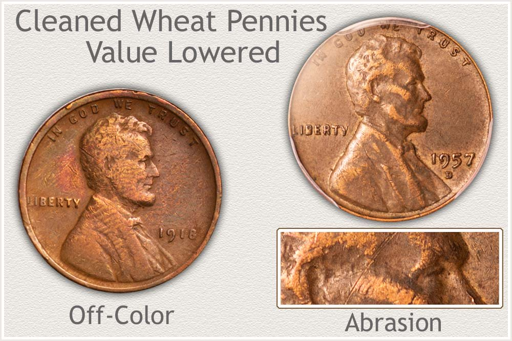 Examples of Lower Value Cleaned Wheat Pennies