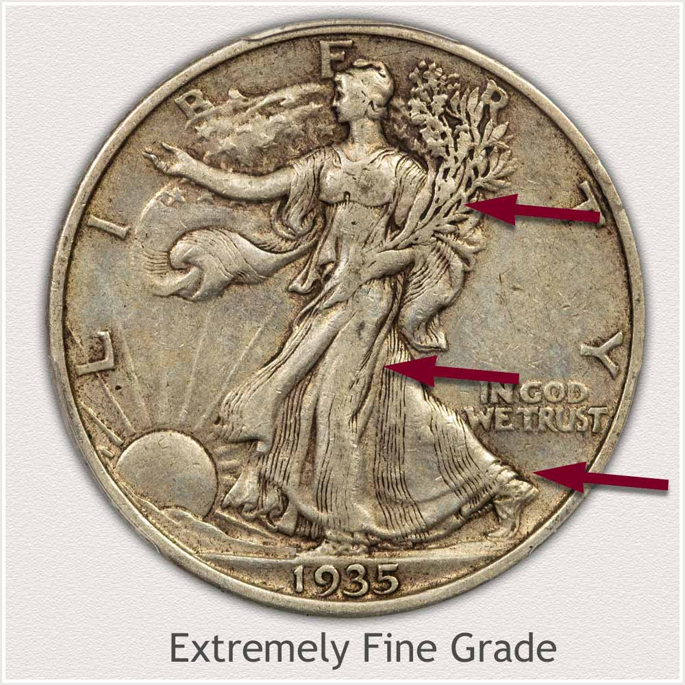 Obverse View: Extremely Fine Grade Walking Liberty Half Dollar