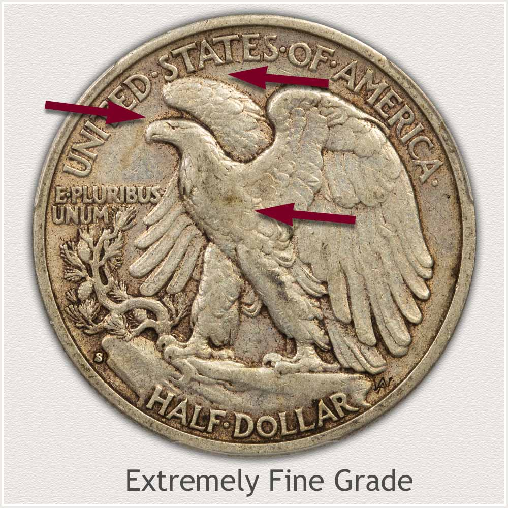 Reverse View: Extremely Fine Grade Walking Liberty Half Dollar