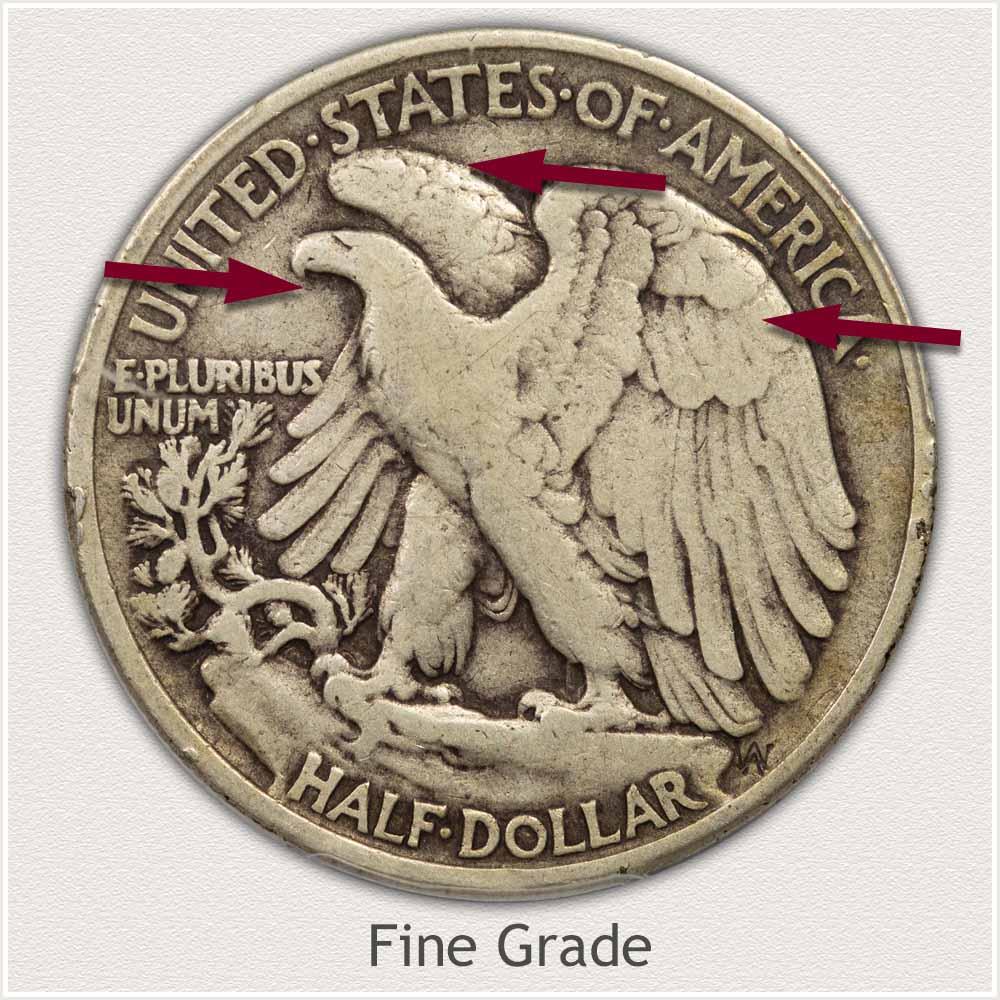 Reverse View: Fine Grade Walking Liberty Half Dollar