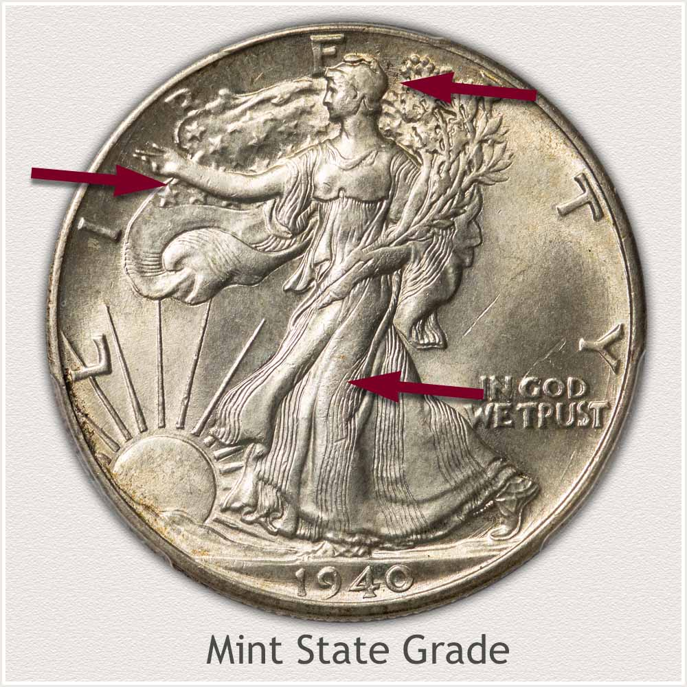 Obverse View: Mint State Grade Walking Liberty Half Dollar
