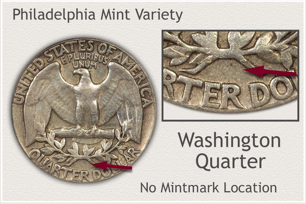 Location of No Mintmark Indicating the Philadelphia Mint
